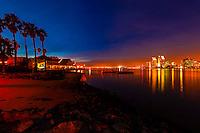 View from Il Fornaio restaurant on Coronado Island across San Diego Bay to Downtown San Diego, California USA.