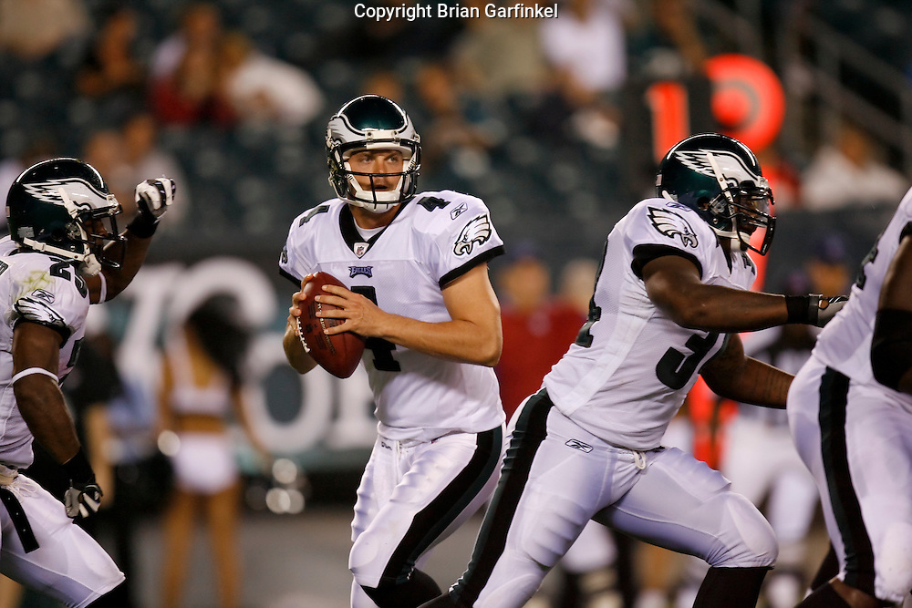 8 August 2008: Philadelphia Eagles quarterback Kevin Kolb #4 looks for a receiver during the game against the Carolina Panthers on August 14, 2008. The Eagles beat the Panthers 24 to 13 at Lincoln Financial Field in Phialdelphia, Pennsylvania.