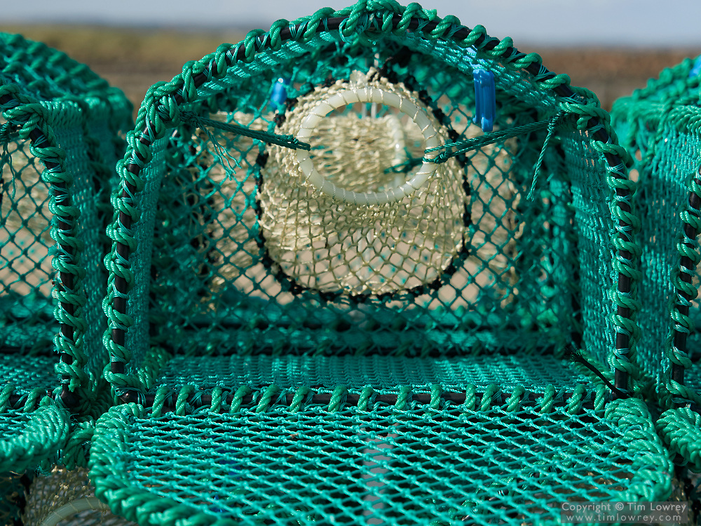 Close Up Of A New Lobster Pot Stacked On The Harbour At The Costal Town Of Amble, Northumberland