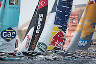 Image licensed to Lloyd Images<br /> The Extreme Sailing Series 2015. Act4 - Cardiff. UK<br /> ESS Fleet in Cardif Bay<br /> Credit: Lloyd Images