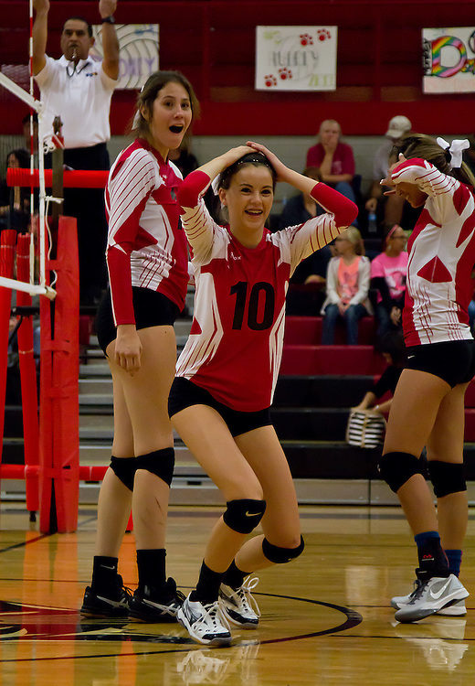 Coconino High's sophomore Lauren Touchstone, Outside Hitter, is in shock after being told her point does not count due to the fact she touched the net during the girls' varsity volleyball game against Thunderbird High school, Thursday Oct. 8, 2015. Missing that one point would not have a huge effect on the outcome of the game as Coconino would take the first three sets for the win. (Photo by David Carballido-Jeans)