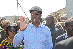 LUSAKA, Aug. 11, 2016 (Xinhua) -- Zambian incumbent President, the presidential candidate of the ruling Patriotic Front (PF) Edgar Lungu arrives at a polling station to cast his vote in Lusaka, Zambia, Aug. 11, 2016. Polling started Thursday morning for Zambia's general elections and referendum. About 6.7 million registered voters are expected to cast their ballots at nearly 7,700 polling stations across the country, which opened from 6 a.m to 6 p.m. (Xinhua/Peng Lijun) (yk) (Credit Image: © Xinhua via ZUMA Wire)