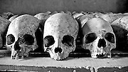 Room with skulls at the technical school at Murambi where 40-60,000 Tutsis were massacred over four days by Hutu extremists during the 1994 genocide that killed one million.
