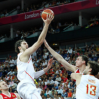 10 August 2012: Spain Pau Gasol goes for the layup during 67-59 Team Spain victory over Team Russia, during the men's basketball semi-finals, at the North Greenwich Arena, in London, Great Britain.