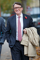 © Licensed to London News Pictures. 03/11/2015. London, UK. Peter Mandelson attending a memorial service for ex-Liberal Democrat leader Charles Kennedy at St George's Cathedral in London on Tuesday, 3 November, 2015. Mr Kennedy died suddenly on June 1, 2015 at the age of 55 after suffering a major haemorrhage as a result of a long battle with alcoholism. Photo credit: Tolga Akmen/LNP