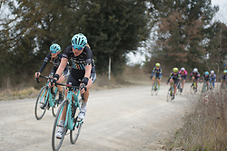 Suzanna Zorzi (Drops) charges across the gravel roads at Strade Bianche - Elite Women. A 127 km road race on March 4th 2017, starting and finishing in Siena, Italy. (Photo by Sean Robinson/Velofocus)