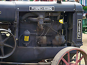 Closeup view of an antique McCormick-Deering Diesel Tractor; Rock River Thresheree, Edgerton, Wisconsin; 2 Sept 2013