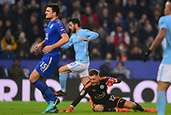 Bernardo Silva of Manchester City scores his teams 1st goal to make it 0-1. .Carabao Cup quarter final match, Leicester City v Manchester City at the King Power Stadium in Leicester, Leicestershire on Tuesday 19th December 2017.<br /> pic by Bradley Collyer, Andrew Orchard sports photography.