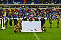 Flagbearing Members of the Armed Forces perform a guard of honour prior to the match in honour of Remembrance Sunday <br /> <br /> Photographer Richard Martin-Roberts/CameraSport<br /> <br /> The EFL Sky Bet League One - Bolton Wanderers v Fleetwood Town - Saturday 2nd November 2019 - University of Bolton Stadium - Bolton<br /> <br /> World Copyright © 2019 CameraSport. All rights reserved. 43 Linden Ave. Countesthorpe. Leicester. England. LE8 5PG - Tel: +44 (0) 116 277 4147 - admin@camerasport.com - www.camerasport.com