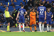 Gary Cahill of Chelsea (24) yellow card during the Champions League group stage match between Chelsea and PAOK Salonica at Stamford Bridge, London, England on 29 November 2018.