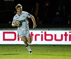 Glasgow Warriors' George Horne scores his sides second try<br /> <br /> Photographer Simon King/Replay Images<br /> <br /> Guinness PRO14 Round 14 - Dragons v Glasgow Warriors - Friday 9th February 2018 - Rodney Parade - Newport<br /> <br /> World Copyright © Replay Images . All rights reserved. info@replayimages.co.uk - http://replayimages.co.uk