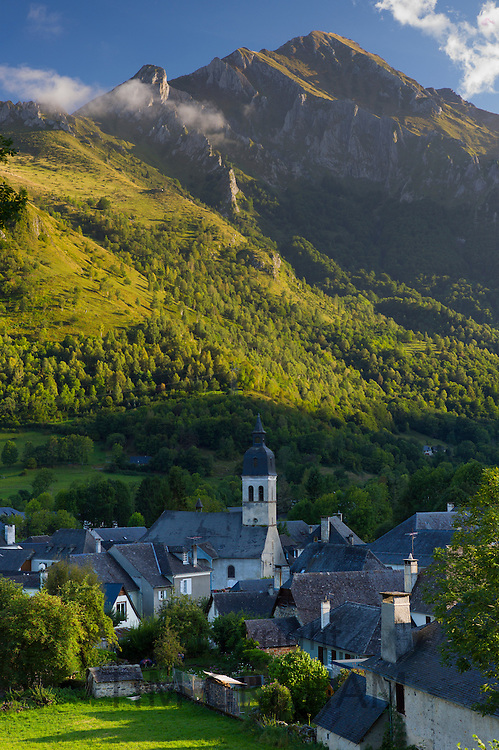 Arrens Commune and the Chapel of Pouey-Laun in Val D'Azun, in the Pyrenees National Park, France