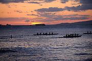 Paddle boats in silhouette, Waikiki Beach, Waikiki, Honolulu, Hawaii