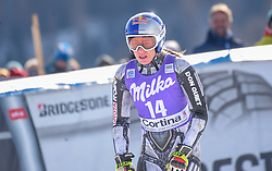19.01.2019, Olympia delle Tofane, Cortina d Ampezzo, ITA, FIS Weltcup Ski Alpin, Abfahrt, Damen, im Bild Ester Ledecka (CZE) // Ester Ledecka of Czech Republic reacts after her run in the ladie's Downhill of FIS ski alpine world cup at the Olympia delle Tofane in Cortina d Ampezzo, Italy on 2019/01/19. EXPA Pictures © 2019, PhotoCredit: EXPA/ Erich Spiess