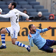 NEW YORK, NEW YORK - March 18:  Matteo Mancosu #21 of Montreal Impact is challenged by Maxime Chanot #4 of New York City FC during the New York City FC Vs Montreal Impact regular season MLS game at Yankee Stadium on March 18, 2017 in New York City. (Photo by Tim Clayton/Corbis via Getty Images)