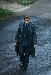 Brad Pitt films scenes for the film Five Seconds Of Silence in Hampstead, north London, Thursday March 31, 2016. The film, set in 1942, features Pitt as a spy who marries a French agent, played by Marion Cotillard. EXPA Pictures © 2016, PhotoCredit: EXPA/ Photoshot/ Johnny Green<br /> <br /> *****ATTENTION - for AUT, SLO, CRO, SRB, BIH, MAZ, SUI only*****