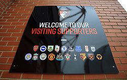Sign welcoming the visiting supporters outside the ground before the Emirates FA Cup, third round match at the Vitality Stadium, Bournemouth.