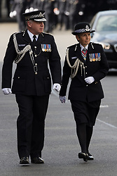 © Licensed to London News Pictures. 10/04/2017. LONDON, UK.  Commissioner CRESSIDA DICK and Deputy Commissioner, CRAIG MACKEY arrive for the funeral of PC Palmer outside Southwark Cathedral in London, where a full police funeral takes place this afternoon. <br /> PC Keith Palmer was stabbed to death whilst on duty in Westminster by terrorist extremist Khalid Masood last month..  Photo credit: Vickie Flores/LNP