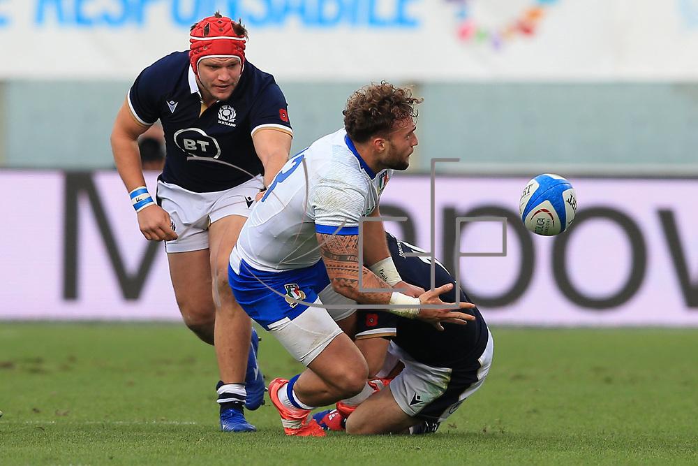 Firenze 14/11/2020, Stadio Artemio Franchi <br /> Autumn Nations Cup 2020<br /> Italia vs Scozia<br /> <br /> Federico Mori in offload