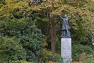 """Statue of Lord Stanley near the entrance of Stanley Park in Vancouver, British Columbia.  The statue was unveiled in 1960. Lord Stanley of Preston quote on pillar: """"To the use and enjoyment of people of all colours creeds and customs for all time. I name thee Stanley Park."""""""