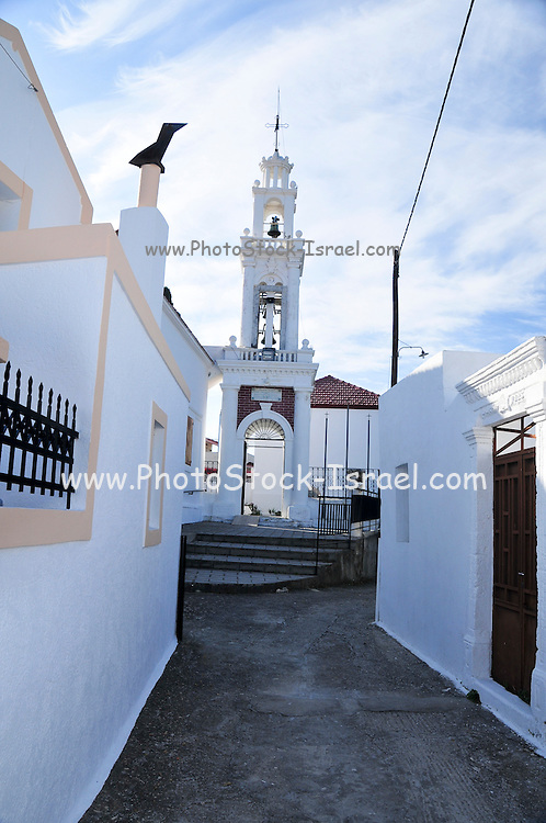 Greece, Rhodes, The old town of Lindos church belfry in the background