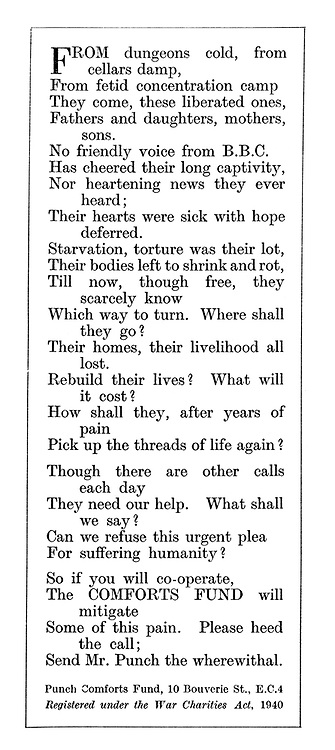 Punch Comforts Fund ad: From dungeons cold, from cellars damp, from fetid concentration camps... (poem)