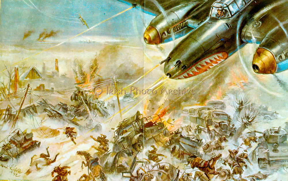Soviet Russian propaganda postcard showing Russian fighter plane attacking a German convoy. Circa 1942. World War Two