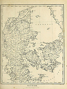 Ancient Map of Denmark Copperplate engraving From the Encyclopaedia Londinensis or, Universal dictionary of arts, sciences, and literature; Volume V;  Edited by Wilkes, John. Published in London in 1810