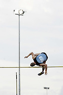 Super 8 athletics at the Cardiff International Stadium on Wed 10th June 2009. A Competitor in action during the men's polevault.