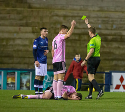 Raith Rovers Jamie Watson gets a yellow card after his tackle on Peterhead's Patrick Boyle. Raith Rovers 2 v 1 Peterhead, Scottish Football League Division One played 4/1/2020 at Stark's Park, Kirkcaldy.