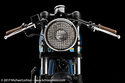 """""""Grand Trunk Express"""", a Royal Enfield cafe racer built by Mike and Peter Muller of Federal Moto in Chicago, IL. Photographed by Michael Lichter in Sturgis, SD on July 31, 2017. ©2017 Michael Lichter."""