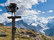 """Brass crow sculpture, Pontresina, Switzerland. The Morteratsch Glacier flows from Bernina massif (4049 meters or 13,284 feet) in Upper Engadine, Switzerland, in the Grison Alps, Europe. The Swiss valley of Engadine translates as the """"garden of the En (or Inn) River"""" (Engadin in German, Engiadina in Romansh, Engadina in Italian)."""