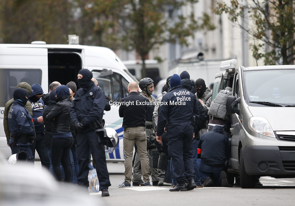 Nov. 16, 2015 - Brussels, BELGIUM - <br /> BRUSSELS, BELGIUM:<br /> <br /> Search for Paris Terror Suspect in Brussels<br /> <br /> Belgian police take part in an operation at district of Molenbeek in Brussels, Belgium, on Nov. 16, 2015. One man was arrested in the Brussels district of Molenbeek on Monday in a major police operation following Friday's terrorist attacks in Paris, local media reported. <br /> ©Exclusivepix Media