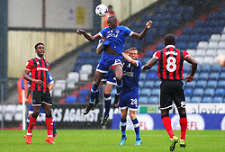 Ousmane Fane of Oldham Athletic wins a header - Mandatory by-line: Matt McNulty/JMP - 03/09/2016 - FOOTBALL - Sportsdirect.com Park - Oldham, England - Oldham Athletic v Shrewsbury Town - Sky Bet League One