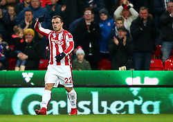 """Stoke City's Xherdan Shaqiri celebrates scoring his side's first goal of the game during the Premier League match at the Bet35 Stadium, Stoke. PRESS ASSOCIATION Photo Picture date: Saturday December 2, 2017. See PA story SOCCER Stoke. Photo credit should read: Dave Thompson/PA Wire. RESTRICTIONS: EDITORIAL USE ONLY No use with unauthorised audio, video, data, fixture lists, club/league logos or """"live"""" services. Online in-match use limited to 75 images, no video emulation. No use in betting, games or single club/league/player publications"""