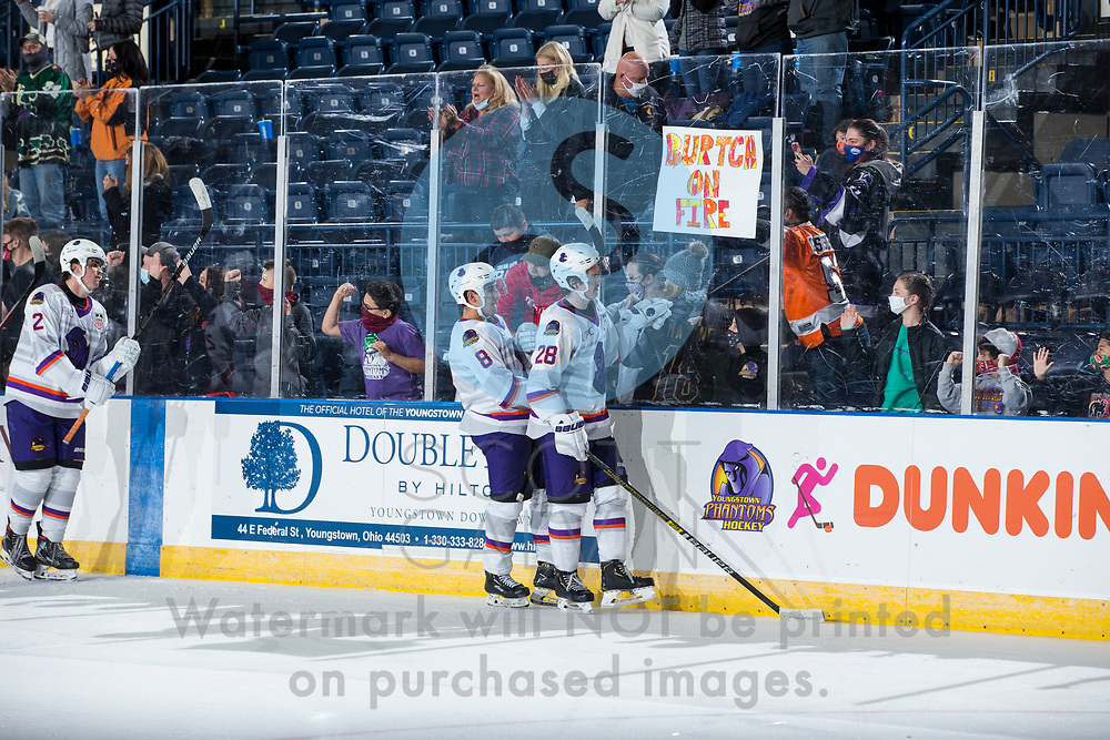 Youngstown Phantoms defeat the Muskegon Lumberjacks 4-3 in overtime at the Covelli Centre on December 5, 2020.<br /> <br /> \Jack Silich, forward, 8; Dylan Gratton, defenseman, 28