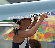 St Catharines, Ontario, CANADA 1999 World Rowing Championships. USA LW1X carries her boat.[Mandatory Credit Peter Spurrier Intersport Images] 1999 FISA. World Rowing Championships, St Catherines, CANADA
