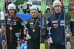 From left: Primoz Peterka (second),  Robert Kranjec (winner) and Rok Mandl (third) at the podium at Slovenian National Championship in Ski Jumping on February 12, 2008 in Kranj, Slovenia . (Photo by Vid Ponikvar / Sportal Images).