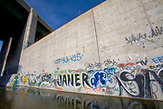 From 2008. Graffiti at the confluence of the Arroyo Seco and the Los Angeles River, Stop on Folar's tour of the LA River, Los Angeles, California, USA