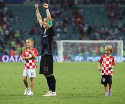 SOCHI, July 7, 2018  Luka Modric (C) of Croatia celebrates victory with his children after the 2018 FIFA World Cup quarter-final match between Russia and Croatia in Sochi, Russia, July 7, 2018. Croatia won 6-5 (4-3 in penalty shootout) and advanced to the semi-finals. (Credit Image: © Xu Zijian/Xinhua via ZUMA Wire)