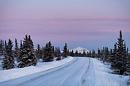 The road through Denali on a winters eve.
