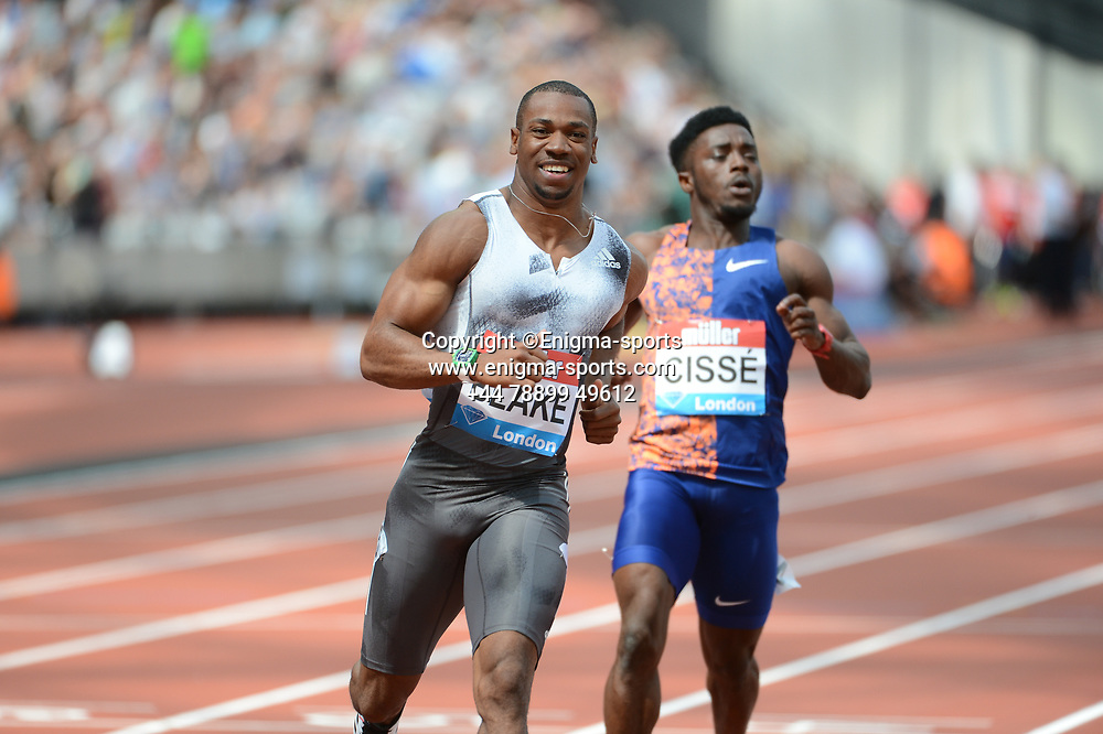 Yohan Blake competes in the men's 100m during the IAAF Diamond League at the Queen Elizabeth Olympic Park London, England on 20 July 2019.