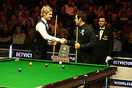 the two players shake hands before the match Ronnie O'Sullivan v Neil Robertson  (left) final.Betvictor Welsh Open snooker 2016, Final day at the Motorpoint Arena in Cardiff, South Wales on Sunday 21st  Feb 2016.  <br /> pic by Andrew Orchard, Andrew Orchard sports photography.