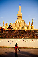 The golden stupa of Pha That Luang, one of the country's most important national monuments.