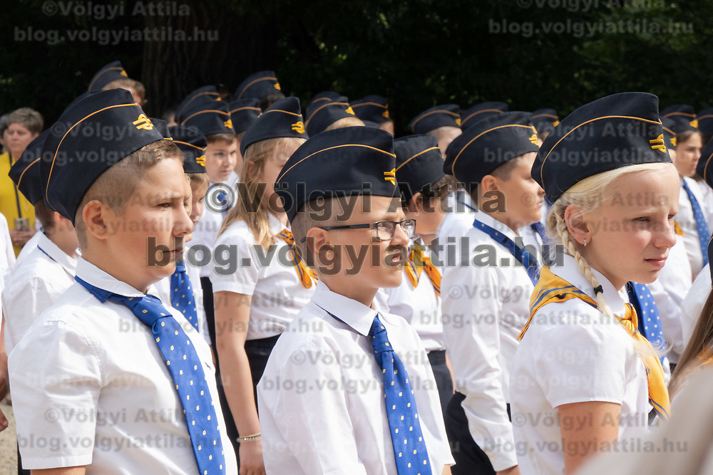 Children attend the inauguration ceremony of newcomers at the Children's Railway in Budapest, Hungary on Aug. 26, 2020. ATTILA VOLGYI