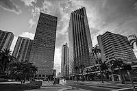 Downtown Miami & Biscayne Boulevard (monochrome)