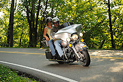 "Motorcycle riding Highway 129 ""Tail of the Dragon"" on the border of North Carolina and Tennesse.  No model release."