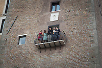 ROME, ITALY - 20 JULY 2014: (R-L) Mayor of Rome Ignazio Marino shows Mayor of New York Bill De Blasio and his family a panoramic vew of the Imperial Fora from the balcony of his office at the Campidoglio (the municipal government), in Rome, Italy, on July 20th 2014.<br /> <br /> New York City Mayor Bill de Blasio arrived in Italy with his family Sunday morning for an 8-day summer vacation that includes meetings with government officials and sightseeing in his ancestral homeland.