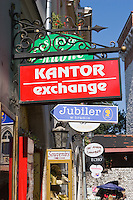Kantor or Currency Exchange in the Stare Miasto Old Town in Krakow Poland