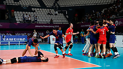 JAKARTA, Sept. 1, 2018  Players of Chinese Taipei celebrate after winning the match against Qatar during Volleyball Men's Bronze Medal Match at the Asian Games 2018 in Jakarta, Indonesia on Sept. 1, 2018. (Credit Image: © Wang Lili/Xinhua via ZUMA Wire)